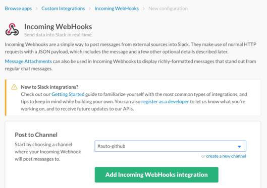Add Incoming WebHooks integration